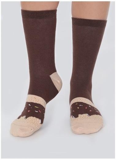 Socks+Stuff Socks&Stuff Chocolate Glazed Donut Çorap Kahve